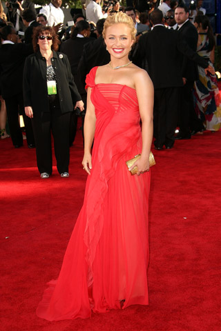 Hayden Panettiere, in J. Mendel with Bally shoes, a Leiber clutch, and Fred Leighton jewels.