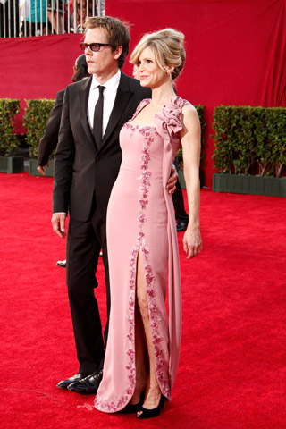 Kevin Bacon, in John Varvatos, with Kyra Sedgwick, in L'Wren Scott.
