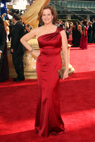 Sigourney Weaver, in David Meister with Fred Leighton jewels.