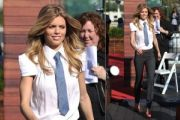 Annalynne McCord Wears Suit