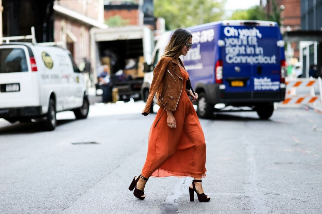best-latest-street-fashion-new-york-fashion-week-spring-summer-ss-2016-rust-dress-brown-suede-jacket-zipper-chunky-black-heels